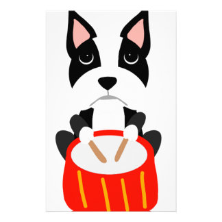 Cool Boston Terrier Dog Playing Drums Stationery