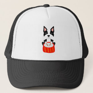 Cool Boston Terrier Dog Playing Drums Trucker Hat