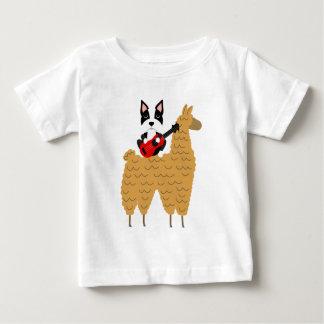Cool Boston Terrier Riding a Llama Baby T-Shirt