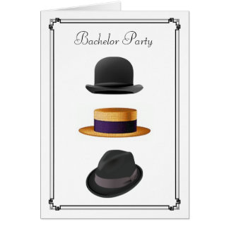 Cool Bowler Straw Fedora Hat  #2  Bachelor Party Card