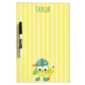 Cool Boy Green Owl Dry Erase Board