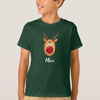 Cool Boy's Christmas Watercolor Rudolph with Name T-Shirt