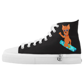 Cool Boy's Clothes - Happy Snowboarding Printed Shoes