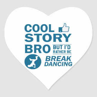 Cool break dancing designs heart sticker