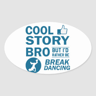 Cool break dancing designs oval sticker