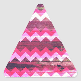 Cool bright pink zigzag seamless wood effects triangle sticker