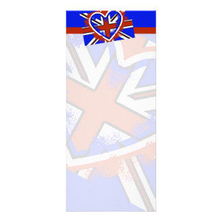 Cool British Flag Heart Design Custom Rack Cards
