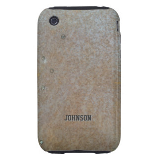 Cool Bronze Grunge Metal Texture with Custom Name iPhone 3 Tough Cases