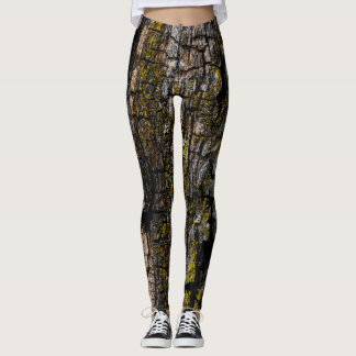 Cool Brown mossy wood bark with yellow lichen Leggings