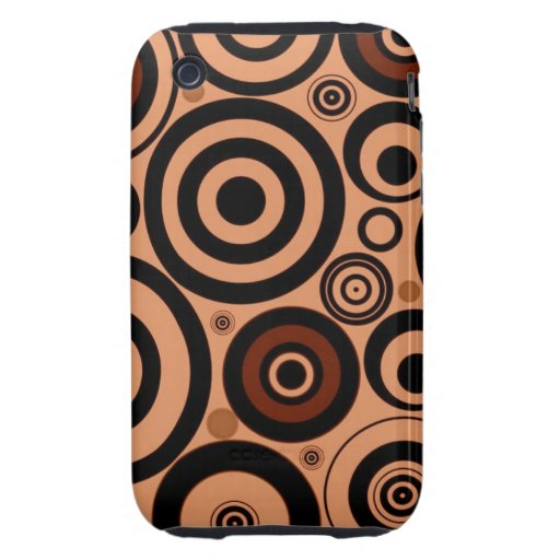 Cool Brown Pattern Circles Vintage Style iPhone 3 Tough Cases