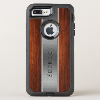 Cool Brown Wood Silver Stripe Texture Print OtterBox Defender iPhone 8 Plus/7 Plus Case