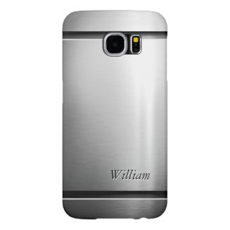 Cool Brush Metal Stainless Steel Look with Name Samsung Galaxy S6 Cases