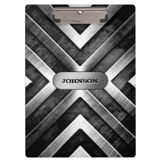 Cool Brushed Dark Metal Steel Look Custom Name Clipboard