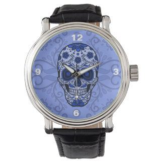 Cool Bue Sugar Skull men's Watch