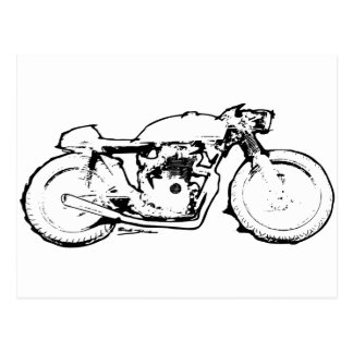 Cool Cafe Racer Motorcycle Drawing Postcards