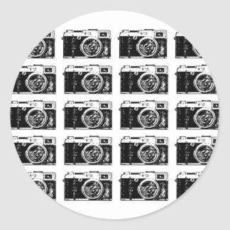 Cool camera pattern classic round sticker