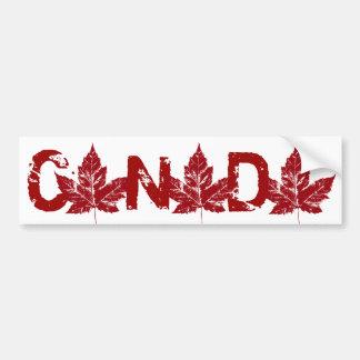 Cool Canada Bumper Sticker Distressed Maple Leaf