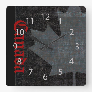 cool Canadian maple leaf on black clock