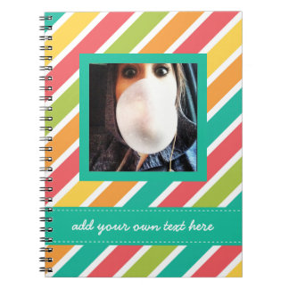 Cool Candy Stripes Personalized Instagram Photo Notebooks