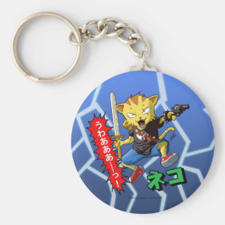Cool Cartoon Cat with Gun and Sword and Thunder Key Chains