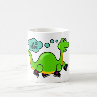 Cool Cartoon Dinosaur Skating to Success Basic White Mug