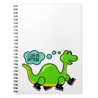 Cool Cartoon Dinosaur Skating to Success Spiral Notebooks