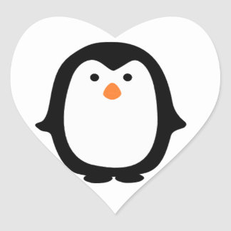 Cool Cartoon Penguin Stickers. Heart Sticker