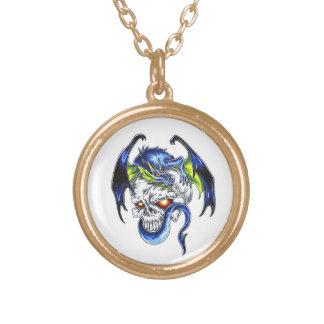 Cool cartoon tattoo symbol Blue Dragon Skull Necklace