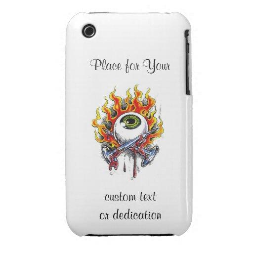 Cool cartoon tattoo symbol burning eyeball  pins Case-Mate iPhone 3 case