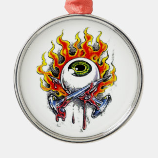 Cool cartoon tattoo symbol burning eyeball  pins Silver-Colored round decoration