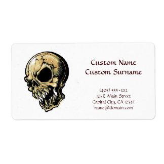 Cool cartoon tattoo symbol evil ink skull shipping label