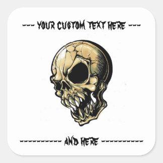 Cool cartoon tattoo symbol evil ink skull square sticker