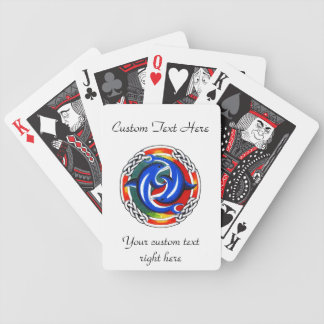 Cool cartoon tattoo symbol  gemini dolphin twin bicycle playing cards