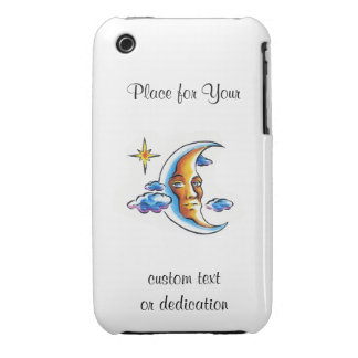 Cool cartoon tattoo symbol Moon face star clouds iPhone 3 Cover