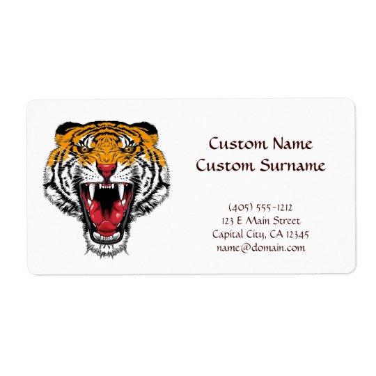 Cool cartoon tattoo symbol roaring feral tiger shipping label