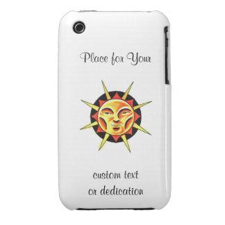 Cool cartoon tattoo symbol Sun Face Flame iPhone 3 Cover