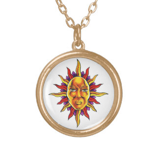 Cool cartoon tattoo symbol Sun face spikes Round Pendant Necklace