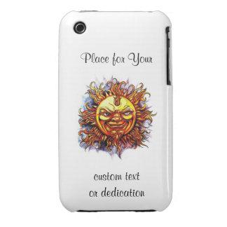 Cool cartoon tattoo symbol Sun God Face iPhone 3 Case