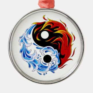 Cool cartoon tattoo symbol water fire Yin Yang Round Metal Christmas Ornament