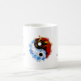Cool cartoon tattoo symbol water fire Yin Yang Coffee Mug