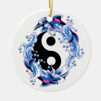 Cool cartoon tattoo symbol Yin Yang Dolphins Ceramic Ornament