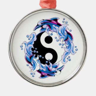 Cool cartoon tattoo symbol Yin Yang Dolphins Metal Ornament