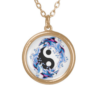 Cool cartoon tattoo symbol Yin Yang Dolphins Necklaces