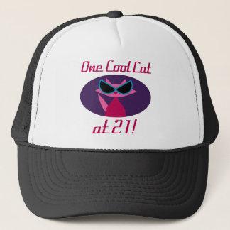 Cool Cat 21st Birthday Trucker Hat