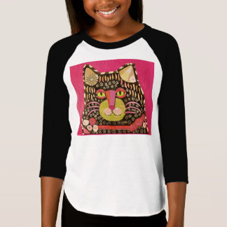 Cool Cat Design on Girls 3/4 Sleeve T-Shirt