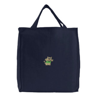 Cool Cat Embroidered Tote Bag