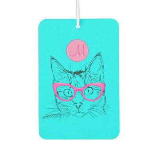 Cool Cat for Cat Lovers Girly Monogrammed