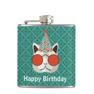 Cool Cat Happy Birthday Hip Flask