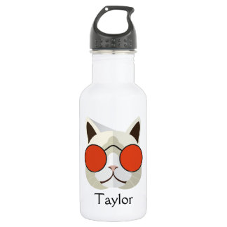 Cool Cat in Sunglasses Monogrammed 532 Ml Water Bottle