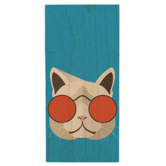 Cool Cat in Sunglasses Wood USB Flash Drive